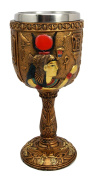 Atlantic Collectibles Ancient Egyptian Goddess of Motherhood Hathor Resin 180ml Wine Goblet Chalice With Stainless Steel Liner