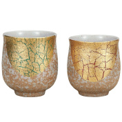 Pair Tea Cups Gold Leaf Kutani Yaki Yunomi