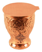 IndianArtVilla 11cm X 8.6cm Pure Copper Engraved Flower Design Glass with Coaster 350 ML - Drinking Serving Water Decoration Home Hotel Restaurant Tableware Good Health Benefit Yoga Ayurveda