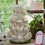 4 Tier HEAVY DUTY Acrylic Crystal Glass Cupcake Dessert Decorating Stand For Birthday Xmas Party Wedding