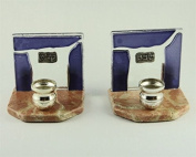 Stone and Glass Shabbat Candlesticks with Purple Glass Stripes and Metal Plaques