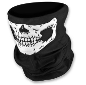 TKmell Multifunctional Black Seamless Skull Face Tube Mask Neck Gaiter Dust Shield Bandana Balaclava for Outdoor Activities