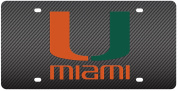 Miami Hurricanes Inlaid Acrylic Licence Plate with Carbon Fibre Design