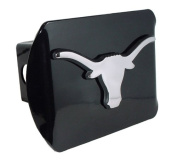 Texas Longhorns Black Metal Trailer Hitch Cover with Chrome Metal Logo