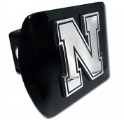 "University of Nebraska Huskers Chrome Iron ""N"" Emblem Black Metal Trailer Hitch Cover Fits 5.1cm Auto Car Truck Receiver with NCAA College Sports Logo"