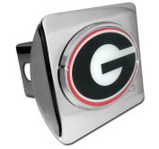 Georgia Bulldogs Polished Chrome Colour Emblem Metal NCAA Trailer Hitch Cover Fits 5.1cm Auto Car Truck Receiver