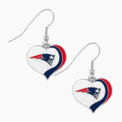 New England Patriots NFL Sports Team Logo Glitter Heart Earring Swirl Charm Set