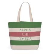 Alpha Chi Omega - Greek Life Sorority Bid Day Tote With Stripes