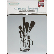 Donna Downey Signature Stencils 22cm x 22cm -Brushes In Jar
