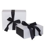 Jillson Roberts 2-Count Large Ribbon-Tie Presentation Gift Boxes, Sophisticate White Matte