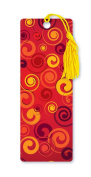 Dimension 9 3D Lenticular Bookmark with Tassel, Yellow and Orange Spirals