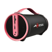 Axess SPBT1033-PNK Portable Bluetooth Indoor/Outdoor 2.1 Hi-Fi Cylinder Loud Speaker with SD Card, AUX and FM Inputs, 10cm Sub In Pink Colour