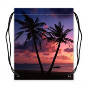 Tropical Hawaii Beach Palm Tree Summer Sunshine Fabric Basketball Drawstring Bags