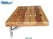 SeaLux Wall Mount 60cm x 33cm Folding Shower Teak Bench in Teak Board for Boat, Shower Room, Steam and Sauna Room