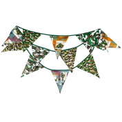 Camouflage Scout Fabric Big Flag Buntings Banner Garland Boy Children Birthday Party Decoration