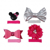 Minnie Bowtique - Mini DIY Hair Clip Kit - Makes 4 Hair Clips - Baby Shower Headband Station - Fashion Clips for Birthday Party & Baby Shower Games