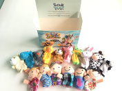 Sensei Play 'n' Learn Finger Puppets People & Animals - 16 pcs - Finger Family Puppets For Kids, Babies, Toddlers & Whole Family