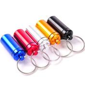 Alohha 5Pcs Aluminium Pill Box Case Bottle Waterproof Cache Drug Organiser Holder Keychain Container Pill Cases & Splitters