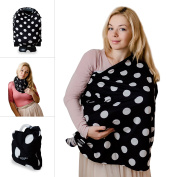 Nursing Cover - Black Dot - Breastfeeding Cover Scarf - Baby Car Seat Canopy, Shopping Cart, Stroller, Carseat Covers for Girls and Boys