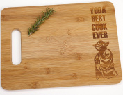 Yoda Best Cook Ever Engraved Bamboo Cutting Board with Handle Star Wars Foodie Gift