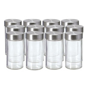 Kamenstein Set of 12 Glass Spice Jars with Stainless Steel Caps