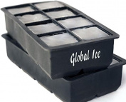 Global Ice - Big Silicone Ice Cube Tray Mould,Twin Set Combo