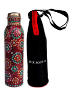 Rastogi Handicrafts Pure Copper Water Bottle for (Joint Free & leak proof)New Red Hand Painted Art Work , With a Insulated Bag