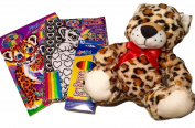 Velvet Art Poster Board (Tiger Holding a Heart) Plus Colouring & Activity Book (Snow Leopard Cubs) Each With Lisa Frank Leopard Cover Art; Coloured Pencils; Plush Stuffed Animal Toy Leopard; 4-pc.
