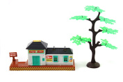 Rail Station and Tree Model Decoration Set for Toy Train Sets