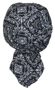 Set of 4 Lined Black Paisley Food Service Skull Cap Head Wrap Do-rag Chef Cook Medical Field