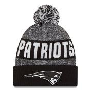 New Era Knit New England Patriots Black On Field Sideline Winter Stocking Beanie Pom Hat Cap 2015