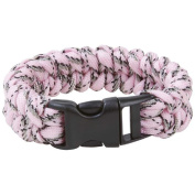 Pink Camo Paracord Bracelet Wristband Rope Cord Military Survival Whistle Buckle