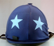 Equestrian / Horse Riding Hat Cover - Navy with Light Blue Star
