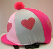 Equestrian / Horse Riding Hat cover - Pink and Silver with Glitter Hearts and Pink Pom-Pom
