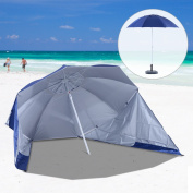 Outsunny UV Protection Fishing Beach Umbrella Brolly Shelter /w Side Panel Tent Blue - NO Base Included