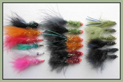 18 Mixed Lure Trout Fishing Flies, Ally McCoist, Flash Damsels & Nomads- Size 10