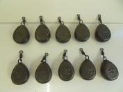 Pack of 10 x Flat Pear Swivel Fishing Weights. Sizes 45ml Carp / coarse fishing