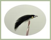 6 Pack of Black JC Zonker Trout Flies, Size 10