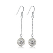 HuntGold 1 Pair Shining Diamond Round Ball Shape Dangle Earrings Women Fashion Jewellery Ear Hook