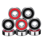 eBoot 8 Pieces ABEC 9 Bearings Skateboard Bearings Longboard Roller Skate Bearings 608 2RS, Double Shielded, Red and Black