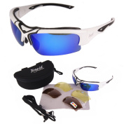 Toledo White UV400 POLARISED Sports Sunglasses With INTERCHANGEABLE LENSES for RC, Skiing, Cricket, Cycling etc.