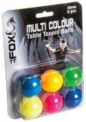 Fox TT Coloured Table Tennis Balls (Pack of 6) - Multi-Colour