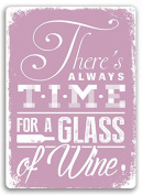 """Time for Wine"" Pink Metal Wall Sign Plaque Wall Art. Kitchen Shabby Chic Interior"