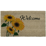 Rubber-Cal Sunflower Welcome Floral Door Mat, 46cm by 80cm