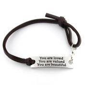 """saying stamped """"You are loved You are valued You are beautiful"""" leather inspirational bracelet"""