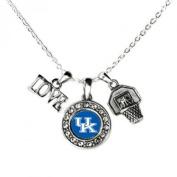 KENTUCKY WILDCATS Multi Charm Love Basketball Blue Silver Necklace Jewellery-UK Basketball Necklace