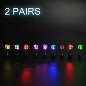 Ayamaya 2 Pairs Changing Colour Christmas Light up LED Earrings Studs Flashing Blinking Earrings Dance Party Unisex for Men Women
