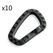 Easywisdom 10pcs Black 80mm D-ring Carabiners Hanging Hook Plastic Clip Snap for Backpack Hiking Camping Outdoors with Free Cable Organiser
