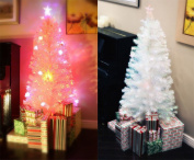 2m PRE-LIT MULTI colour LED fibre OPTIC ARTIFICIAL WHITE CHRISTMAS TREE