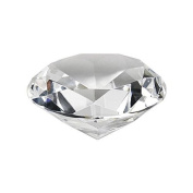 Crystal Clear Faceted Diamond Shaped Paperweight Top Maybe Engraved Apx. 10cm Diameter